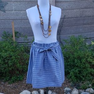 NWOT DEE ELLE CHAMBRAY STRIPED SKIRT TIE WAIST J85